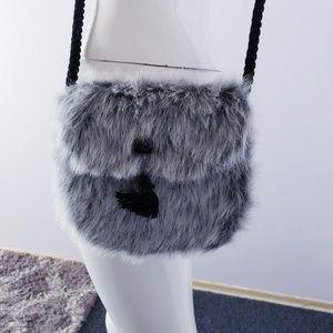 Handbags - Cute Gray Fur Crossbody Bag